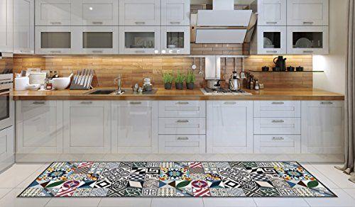 Tappeto cucina lavabile in lavatrice, passatoia cucina, 52cm x 240cm, anti acaro, retro antiscivolo, tappeto da cucina fantasia geometrica,100% made in Italy, passatoia da cucina con stampa digitale