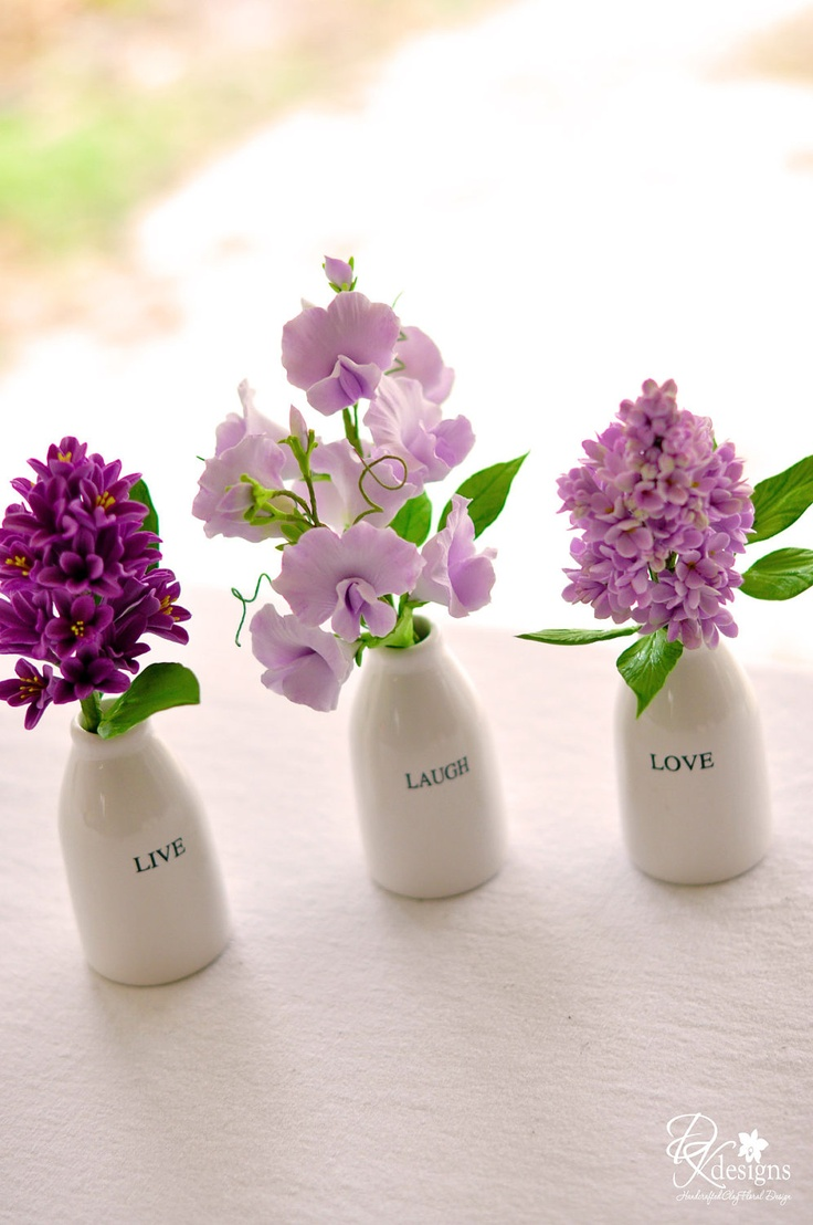CUSTOM LISTING for kap1223  - Live, Love Laugh Vases with Purple Hyacinth, Sweet Peas and Lilac. $75.00, via Etsy.