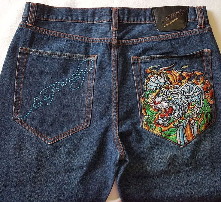 Don Ed Hardy TIGER Tattoo JEANS Mens 36 x 28 Embroidery by Christian Audigier  | Clothing, Shoes & Accessories, Men's Clothing, Jeans | eBay!