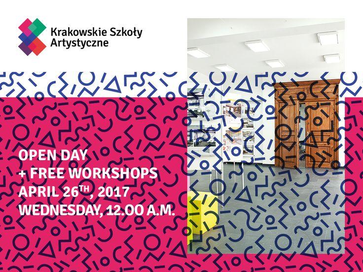 Zapraszamy na Dzień Otwarty w Krakowskie Szkoły Artystyczne! Weźcie udział w bezpłatnych warsztatach z projektowania ubioru, fotografii, aktorstwa, visual merchandisingu oraz projektowania wnętrz.  :) Sprawdźcie szczegóły -> bit.ly/DzieńOtwartyKSA
