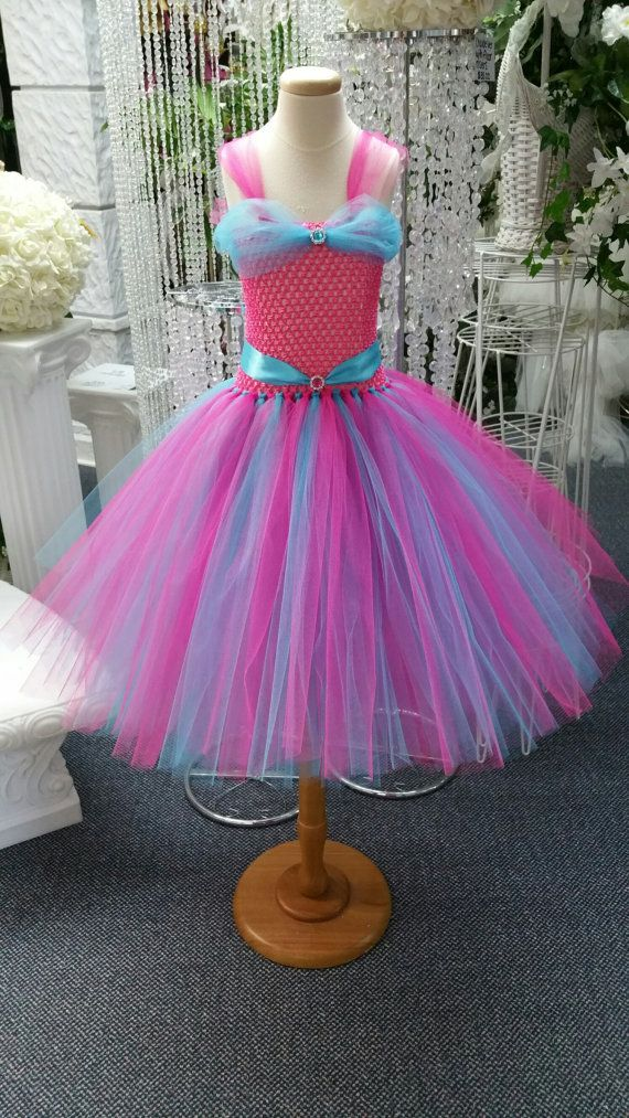 Princess Style Fuchsia/Turquoise Tutu Dress by LuxxCouture on Etsy