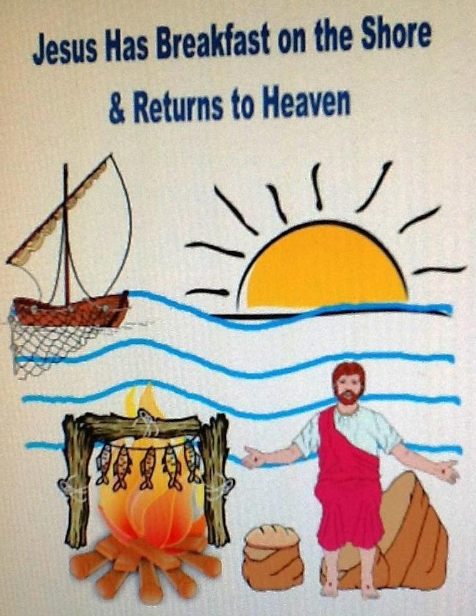 Jesus has Breakfast on the Shore & Returns to Heaven cut & glue worksheet