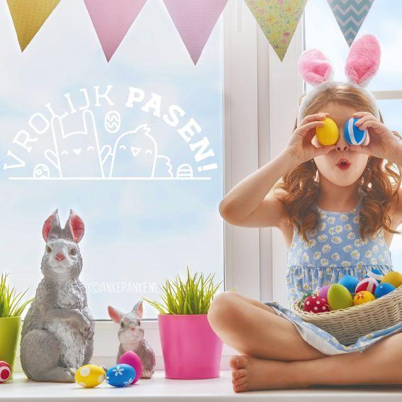 Heb jij er ook zo'n zin in? Wens je buurt een vrolijk pasen met deze gezellige konijn en kuiken #raamtekening.
