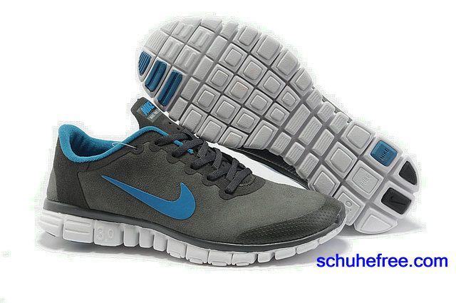 Damen Nike Free 3.0 V2 Anti -Pelz-Schuhe Charcoal Grey Blue