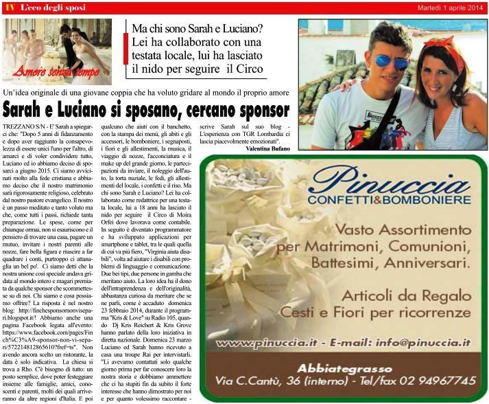 """Martedì 01/04/2014, n. 13 del mensile """"L'Eco della Città"""" (rubrica L'Eco degli Sposi) - pagina 4"""