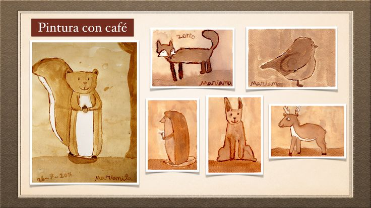 Animales pintados con café. Watercolors with coffee