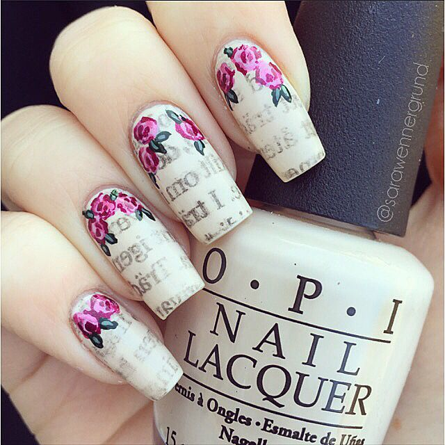 Best 25 newspaper nail art ideas on pinterest diy nails with newspaper nails using opi my vampire is buff a rose a prinsesfo Image collections