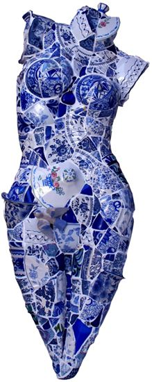 "Domestic Goddess...made from broken ""china"" dishes"