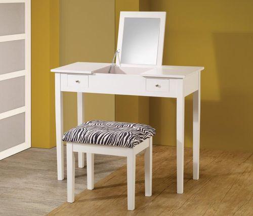 2 PC White Vanity Set with Folding Mirror 300285 (mirror up)
