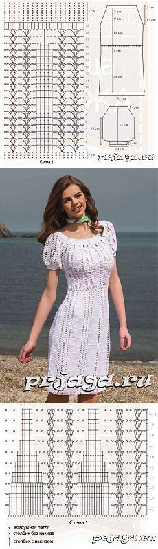 Вязание крючком платья со схемами