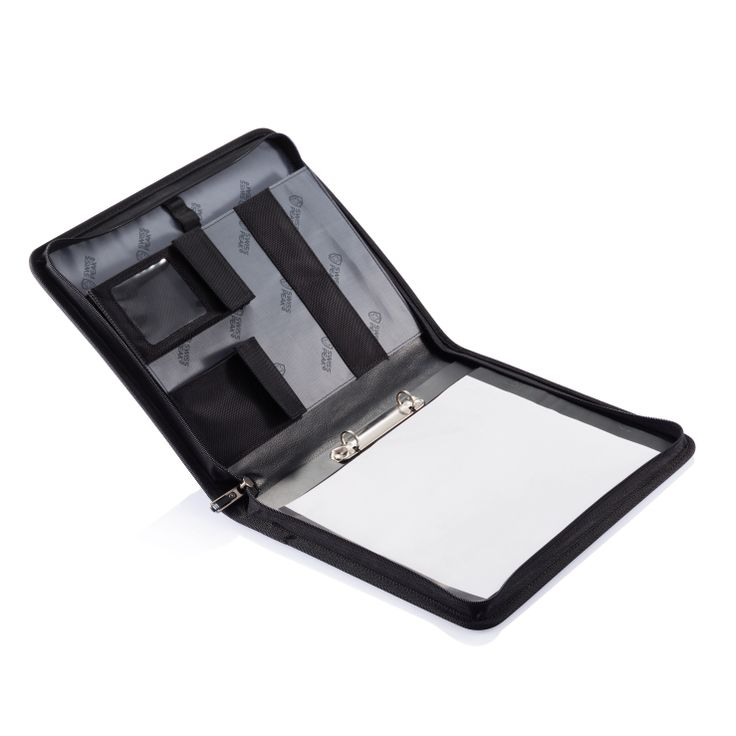 Swiss Peak portfolio - 1680D zipper portfolio with metal Swiss Peak logo on the front. On the inside it has lots of functional pockets for all you accessories and A4 20 sheet recycle notebook with white cover and recycle logo. For more great ideas contact John@fortunemarketing.ie