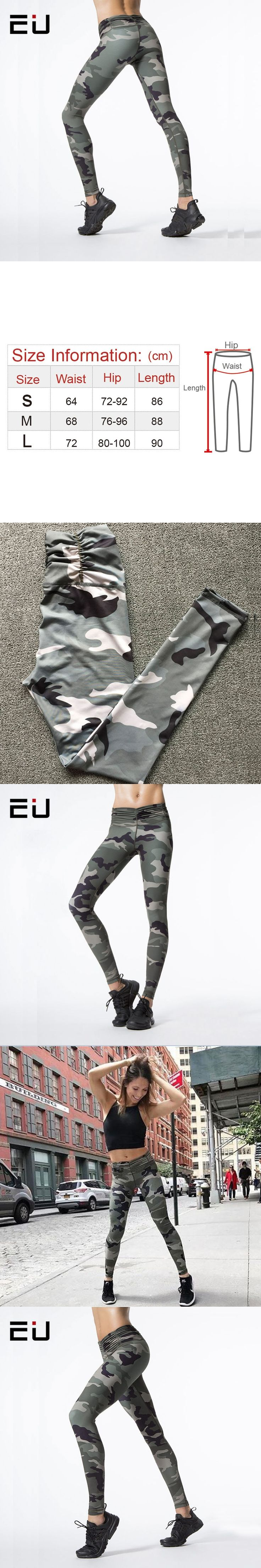 EU Women Camo Yoga Pants Women Yoga Leggings Camouflage High Waist Running Tights Women High Quality Fitness Sport Leggings