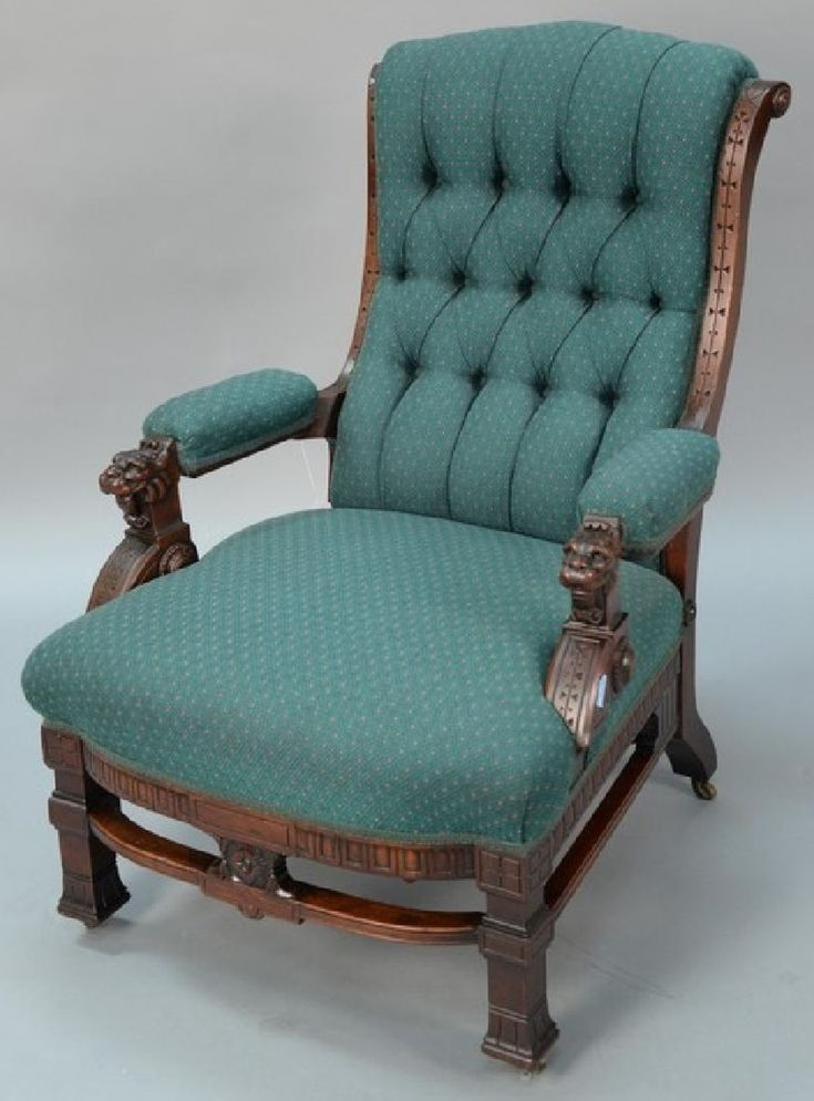 Victorian walnut reclining gentlemans chair with carved