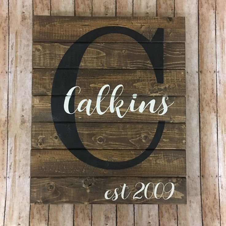 Pallet Name Sign - Custom Name Sign - Family Established Sign - Rustic Family Name Sign - Family Initial Sign - Personalized Family Sign by TheRusticCountryHome on Etsy https://www.etsy.com/listing/490891438/pallet-name-sign-custom-name-sign-family