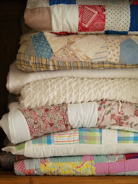 collection of vintage quilts