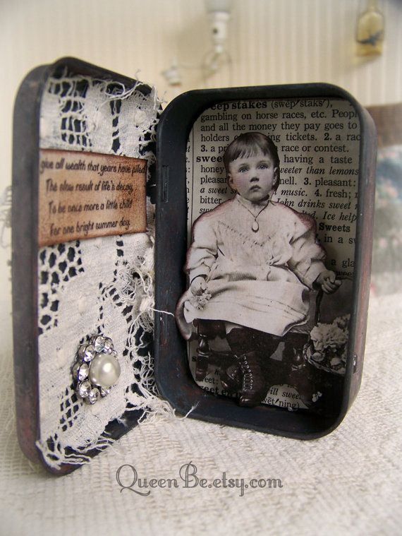 Altered Altoid Tin Assemblage Collage Vintage Altered Art Tin by QueenBe