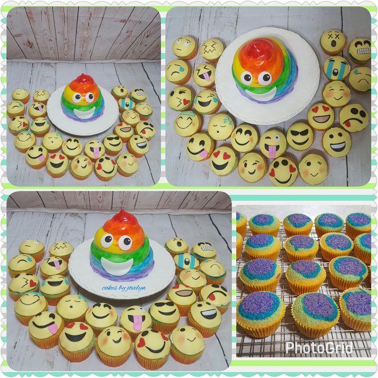 Emoji Rainbow Poop Cake And Cupcakes