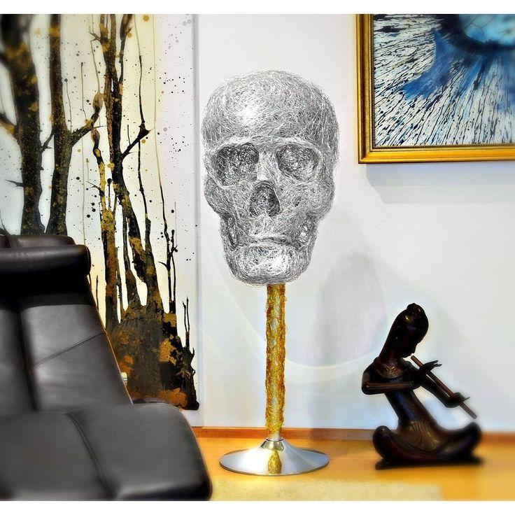Design Skulptur - XXX-L SKULL - Aluminium silber /gold 140cm   Korpus Aluminium eloxiert.  mit gold umwickeltem Fuss