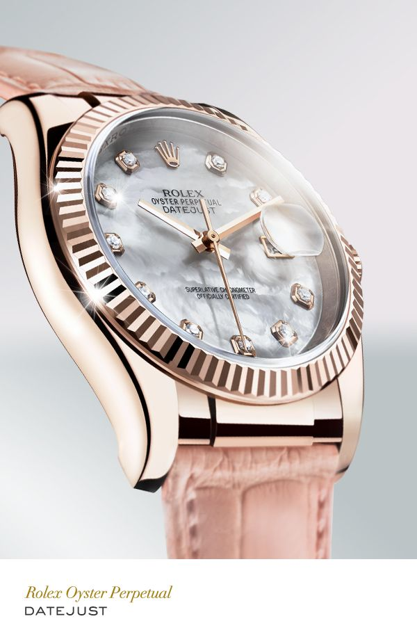 Rolex Datejust 36 mm in 18 ct Everose gold with a fluted bezel and leather strap. #RolexOfficial