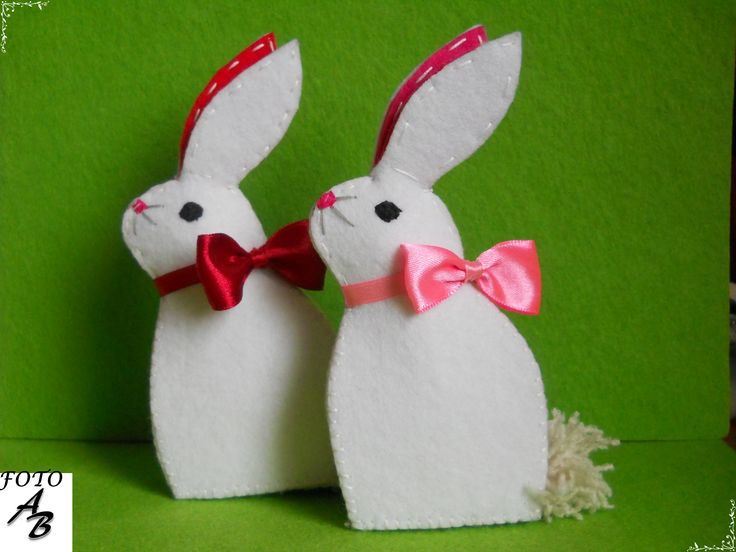 White rabbit felt / Białe króliki filc