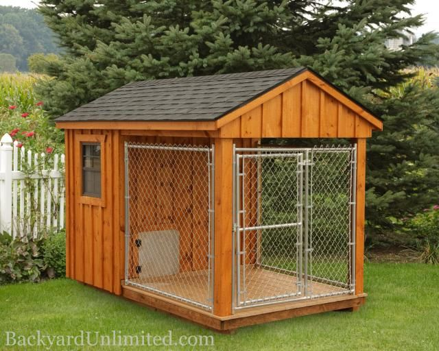 6'x10' Dog Kennel with 4'x6' Box, 6'x6' Run, and Board and Batten Siding http://www.backyardunlimited.com/dog-kennels