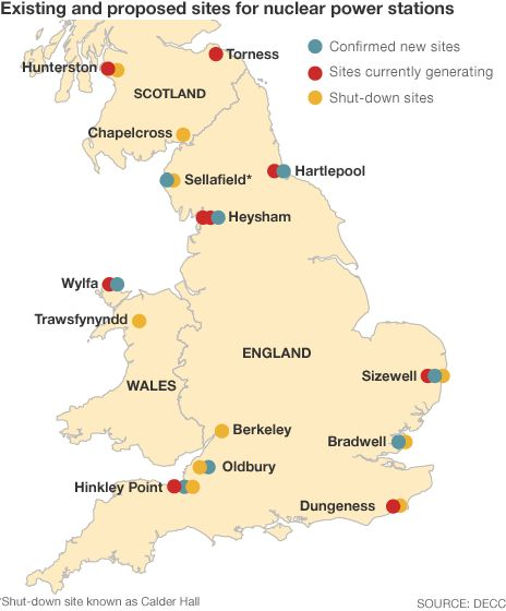 UK map of nuclear power sites