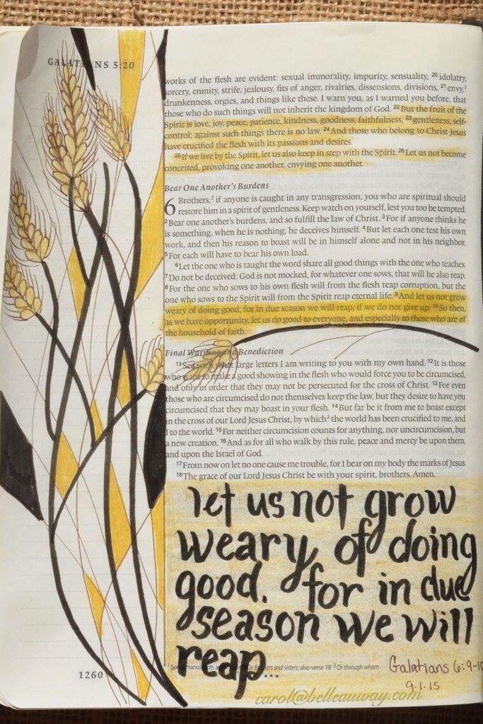 Galatians 6:9-10 September 1, 2015 carol@belleauway.com, colored pencil, bible art journaling, journaling bible, illustrated faith