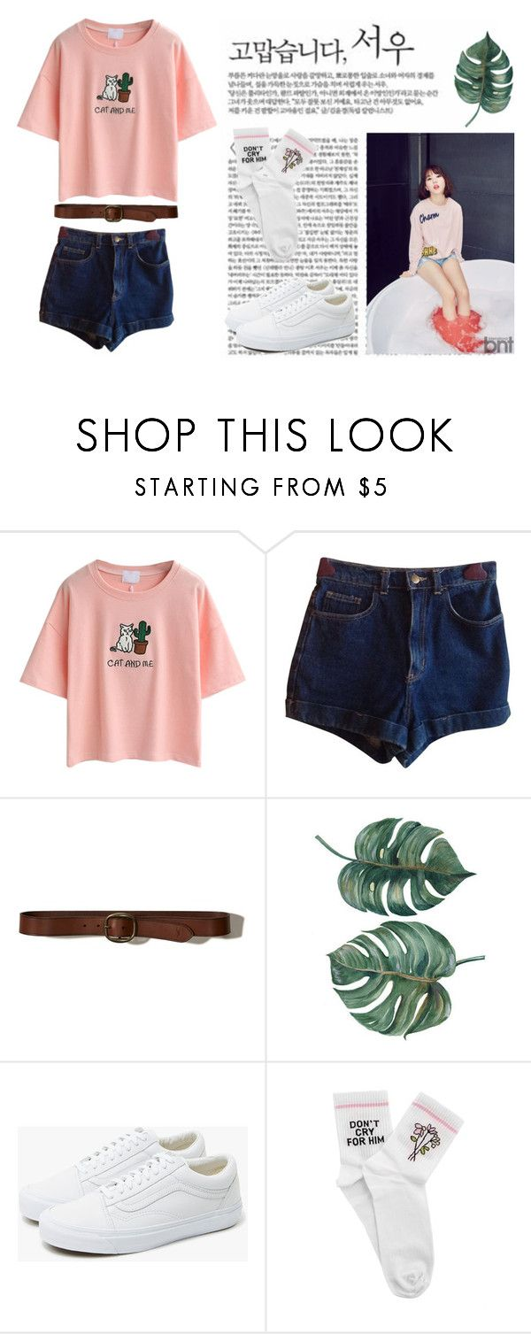 """Ulzzang style // Eunha"" by emilyluciid on Polyvore featuring Mode, WithChic, American Apparel, Hollister Co., Vans und Yeah Bunny"