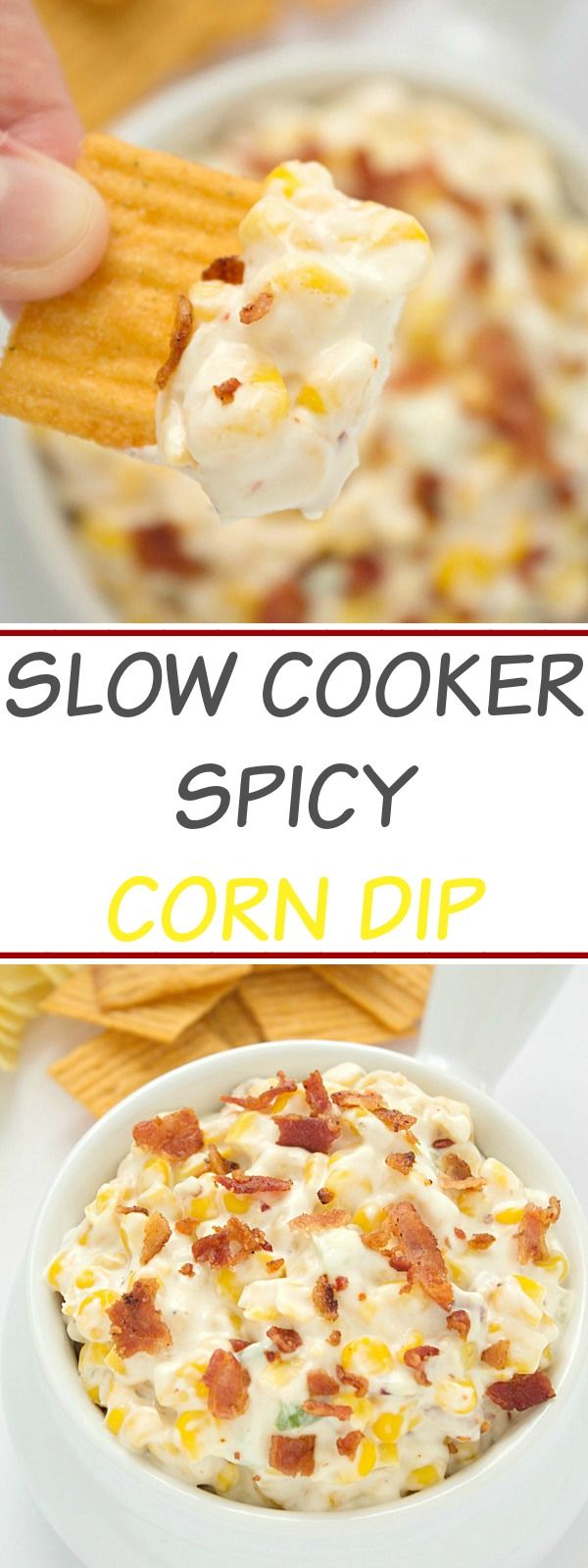 Slow Cooker Spicy Corn Dip  ---   An out-of-this-world delicious and very addicting slow cooker spicy corn dip recipe! Great for the big games