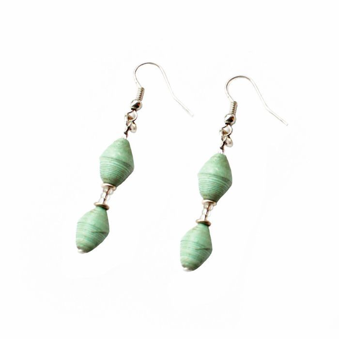 Simple Magazine Bead Earrings Seafoam - Imani Workshop (J) Listing in the Other,Handmade Goods,Crafts, Handmade & Sewing Category on eBid United States | 154763904
