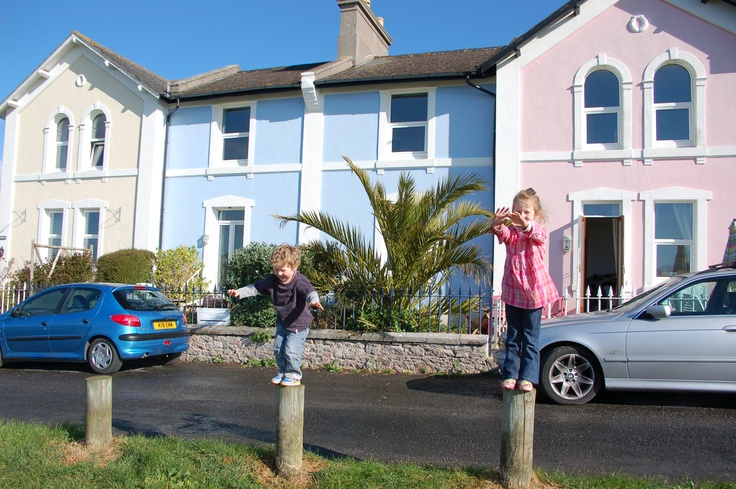 Outside cottage. My son & Daughter... x