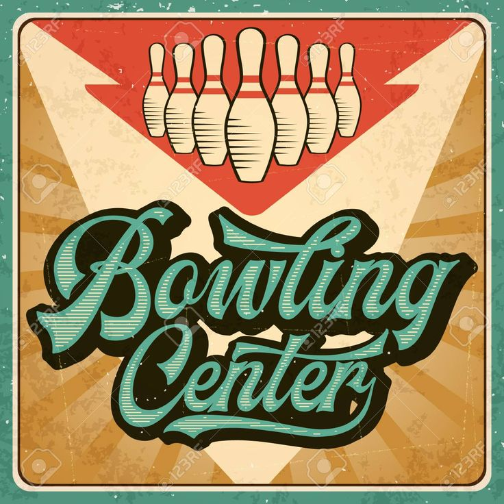 Retro advertising bowling poster. Vintage poster. Vector eps10 Illustration , #Ad, #bowling, #poster, #Retro, #advertising,