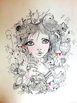"""Feriado"" Tinta sobre papel 30 x 36 cm.2013"