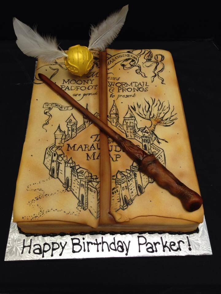 Harry Potter Cake - Hand Painted and airbrushed fondant half sheet with gum paste wand and snitch
