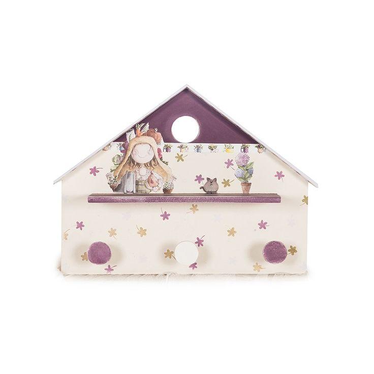 Perchero infantil casitas en madera para decorar de - Perchero pared infantil ...