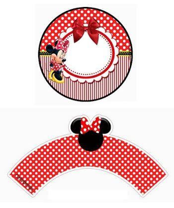 Minnie en Rayas Rojas: Wrapper y Topper para Cupcakes para Imprimir Gratis.