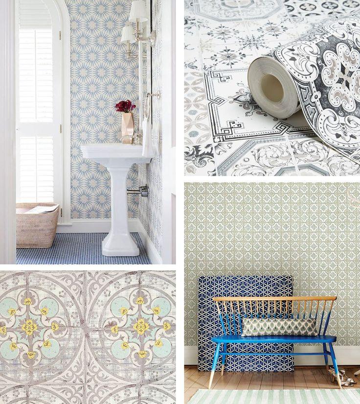Faux Tile Marble Wallpaper