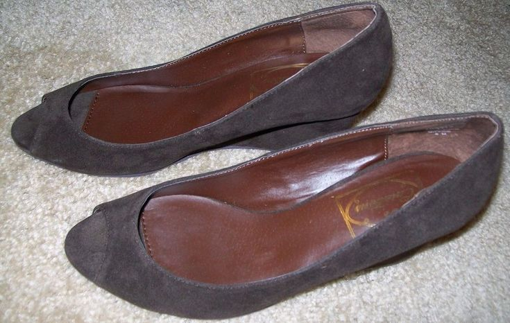"sz 8 curations brown suede open toe 2 3/4"" wedge dress shoe #curations #PlatformsWedges"