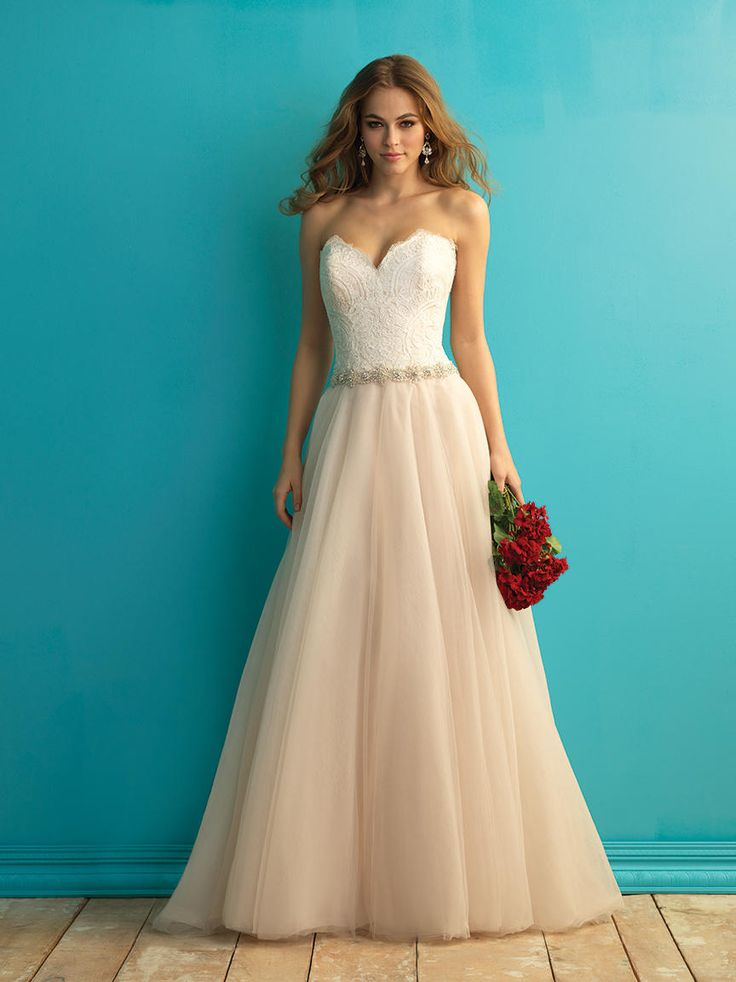 Strapless Allure Bridals Wedding Gown Two Toned Dress With Lace And A