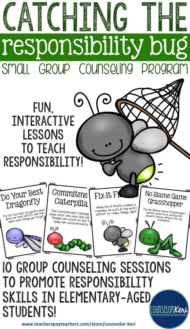 small group counseling program to promote responsibility in elementary-aged students - 10 organized/scripted lesson plans ready to print and implement! -Counselor Keri
