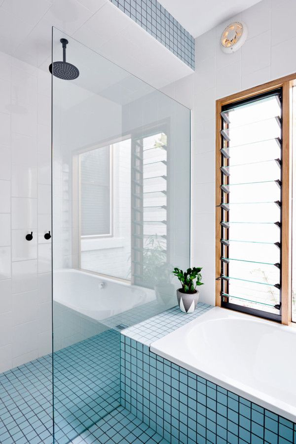 I like the black fittings, and the layout, except I would move the glass a few inches closer, so that there is a shelf inside the shower too.
