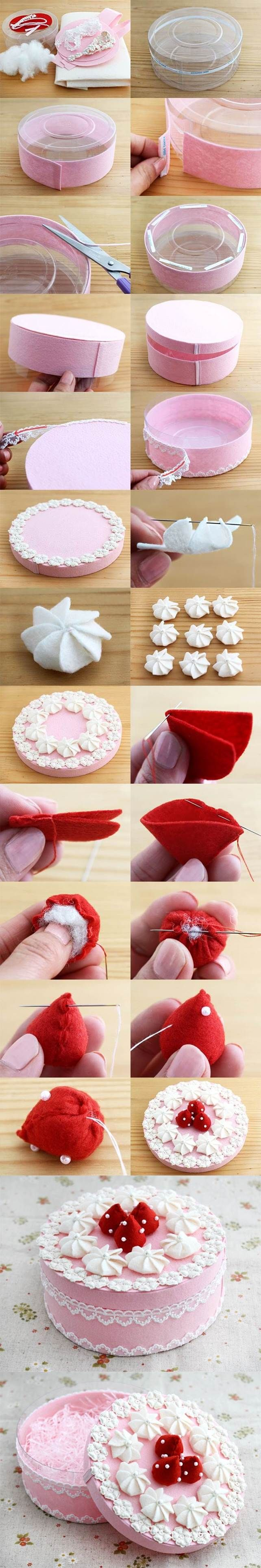 DIY Beautiful Gift Box Decorated Like a Cake Tutorial. Felt crafts.