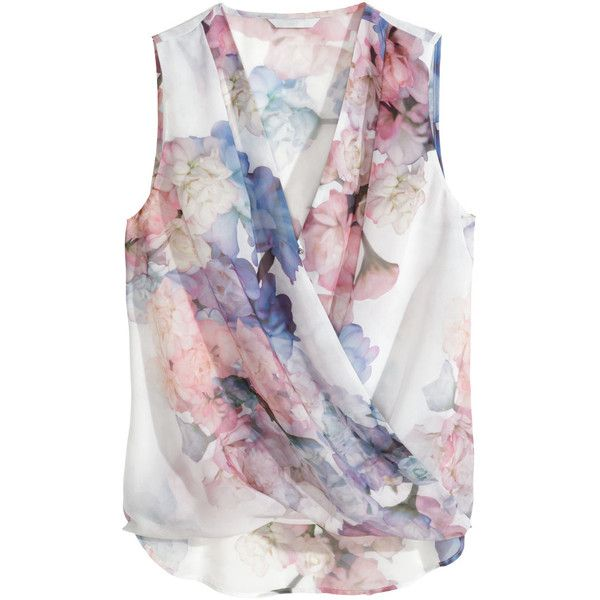 H&M Draped blouse ($11) ❤ liked on Polyvore featuring tops, blouses, h&m, shirts, floral, floral pattern shirt, flower print blouse, drape front shirt, floral sleeveless blouse and floral shirt