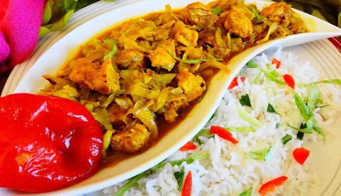 Surinaams eten – Rijst met kip en kool in masala