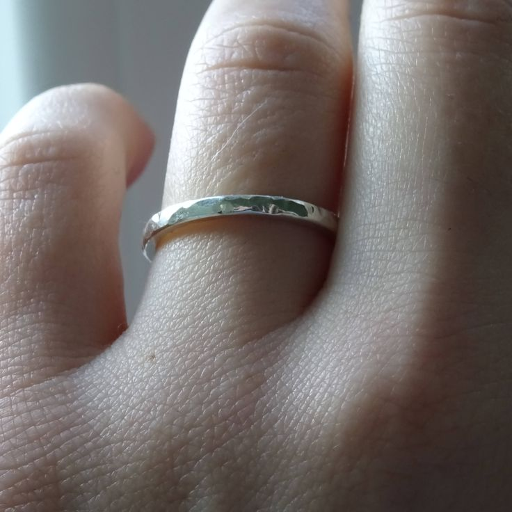 Hammered silver ring/ Simple ring by RingRosa on Etsy