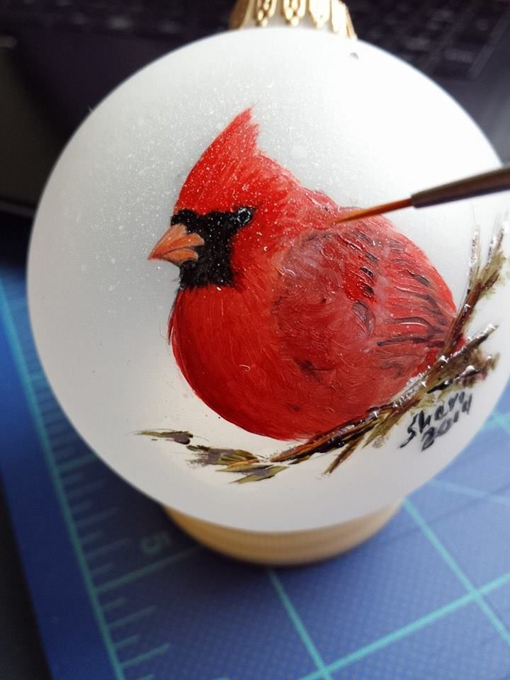 Hand painted cardinal ornament