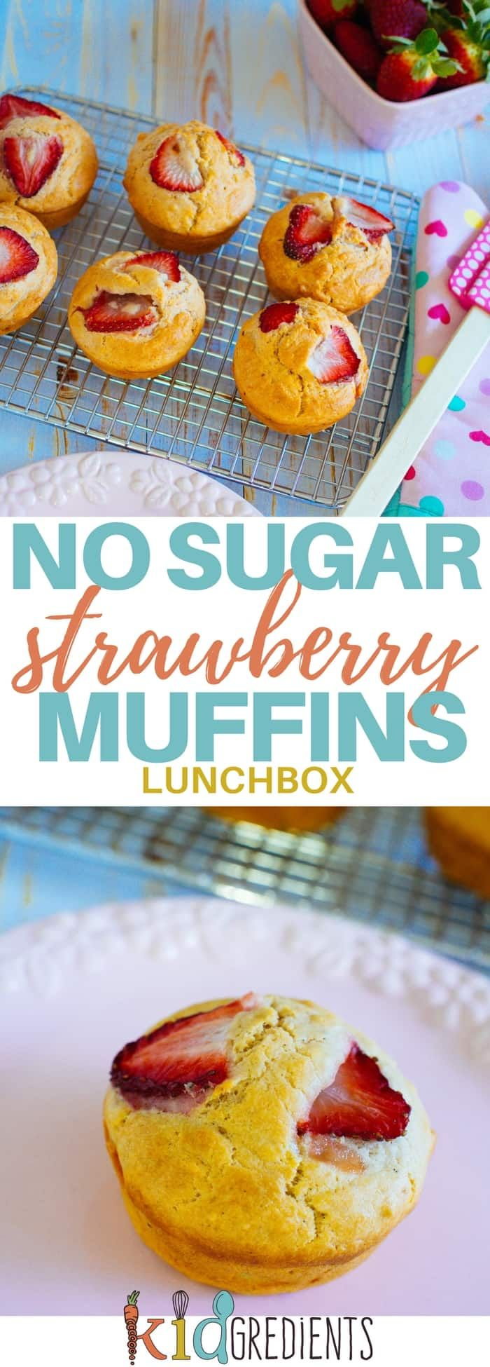No sugar strawberry muffins. Perfect in the lunchbox and great for afternoon tea! Freezer friendly and easy to bake this recipe is a kid pleaser! #kidsfood #muffins #nosugar #baked #familyfoods #lunchbox via @kidgredients