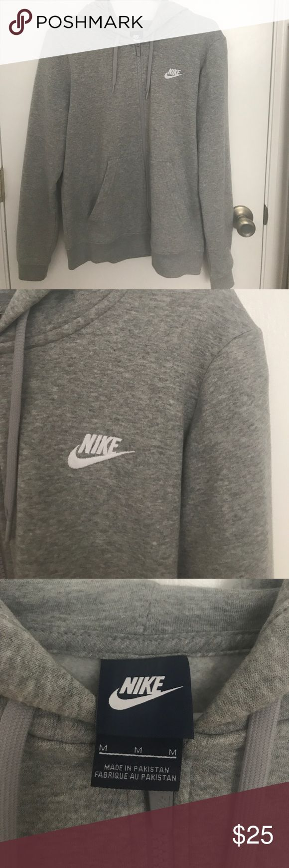 Nike Zip-Up Hoodie Grey Nike zip-up, size medium. Only tried on! Really cute, super comfy and soft. Not my style anymore though! Nike Tops Sweatshirts & Hoodies