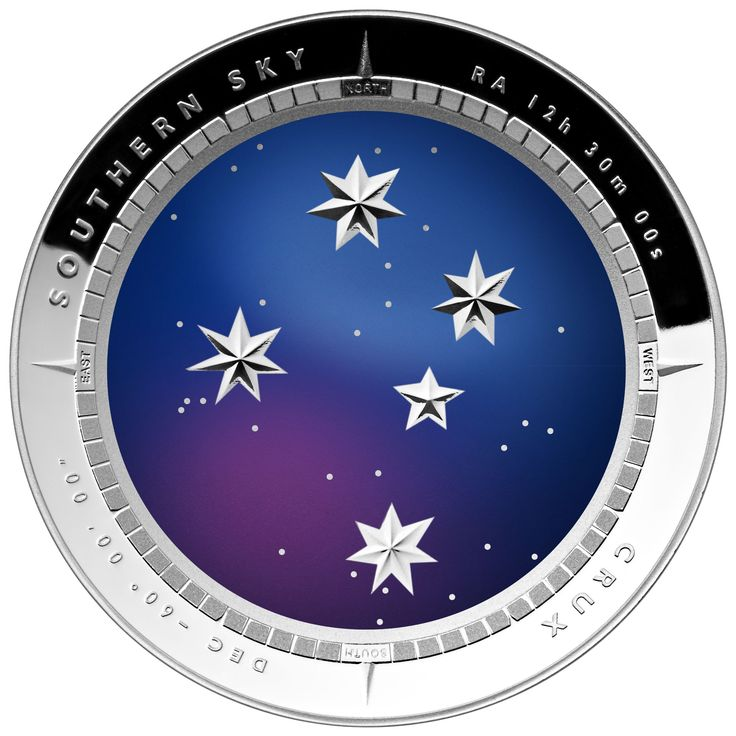 The beautiful purple and blue hues jump off the stunning silver backdrop on the 2012 Crux Southern Skies Silver Proof Colour Printed $5 Domed Coin.