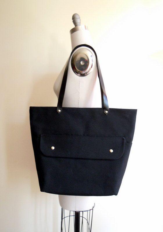 Black canvas tote bag, leather handles, beach bag, tote bag, shoulder bag, outside pocket, de almeida designs